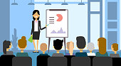 Business Woman Making Presentation, Training Or Conference Report To Group Of Businesspeople Flat Vector Illustration