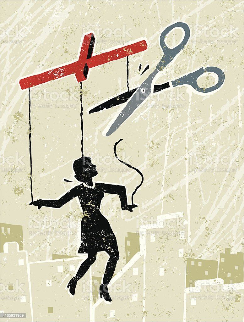 Business Woman Marionette Being Set Free with Scissors vector art illustration