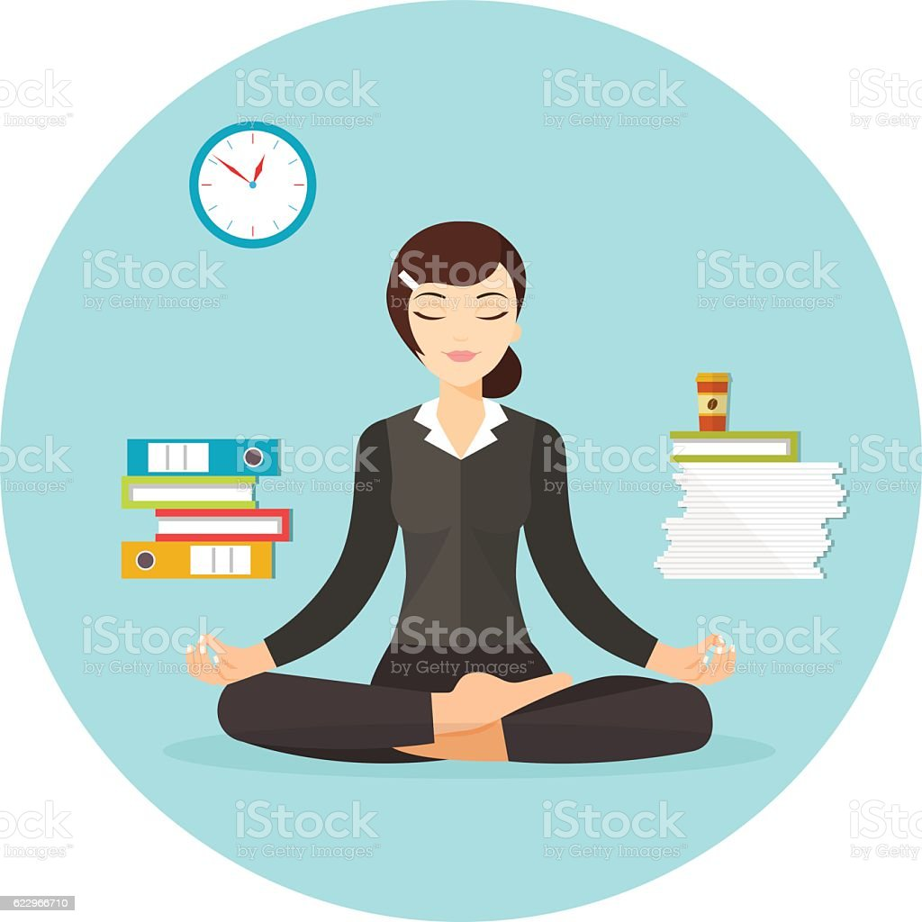Business woman meditating. Vector flat illustration isolated - Illustration vectorielle