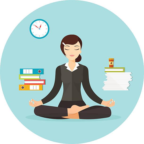 bildbanksillustrationer, clip art samt tecknat material och ikoner med business woman meditating. vector flat illustration isolated - stillsam scen