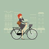 A vector illustration of a business woman on a bike talking on the phone with city background. Completely isolated.