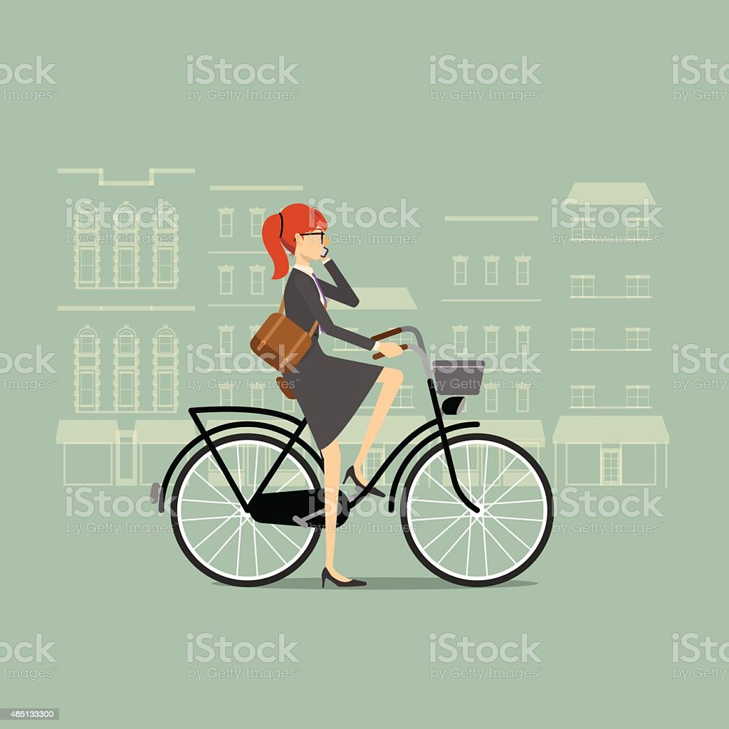 Business woman on a bicycle talking on the phone vector art illustration