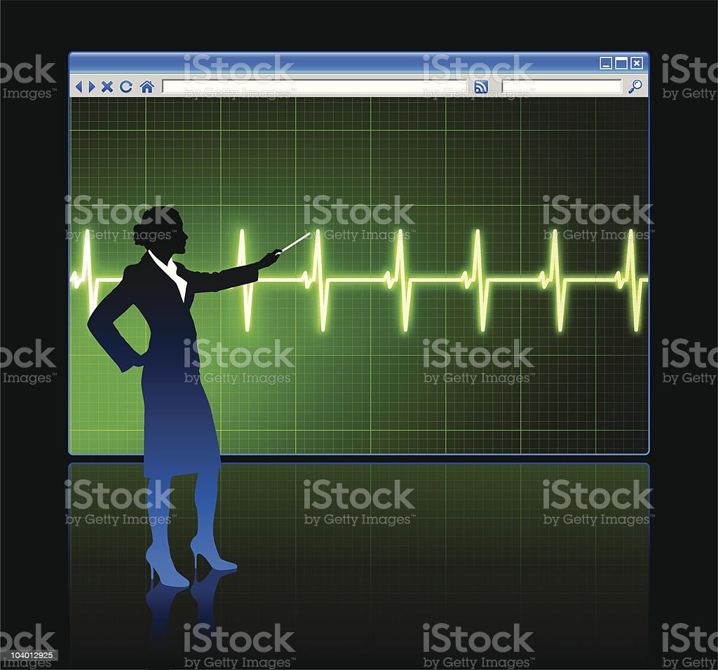 Business woman on background with web browser internet pulse page royalty-free stock vector art