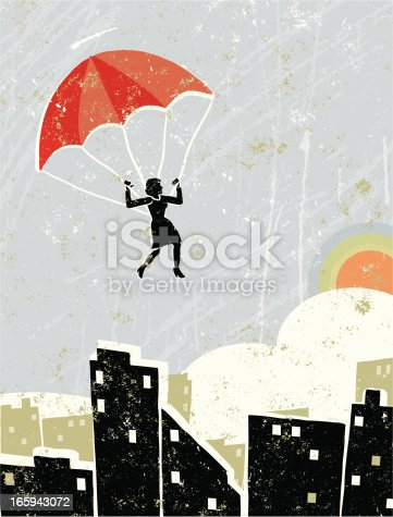 Freedom! A stylized vector cartoon of a  businesswoman on a parachute above a city scene, the style is  reminiscent of an old screen print poster, suggesting freedom, hope, let go, escape, flying high, loss of control or onwards and upwards. Parachute, woman, houses, city, paper texture and background are on different layers for easy editing. Please note: clipping paths have been used,  an eps version is included without the path.