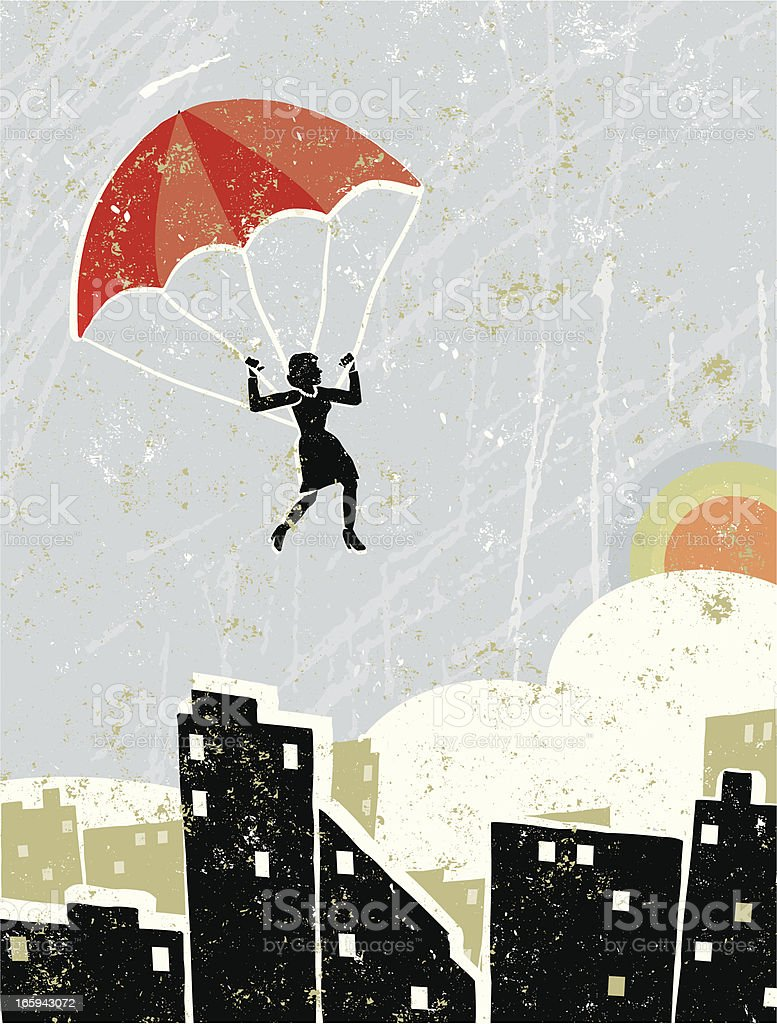Business Woman On Parachute Flying Free Over a Cityscape vector art illustration