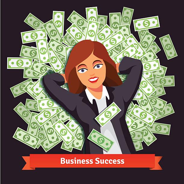 business-frau auf haufen von dollar. erfolg-konzept - stapelbett stock-grafiken, -clipart, -cartoons und -symbole