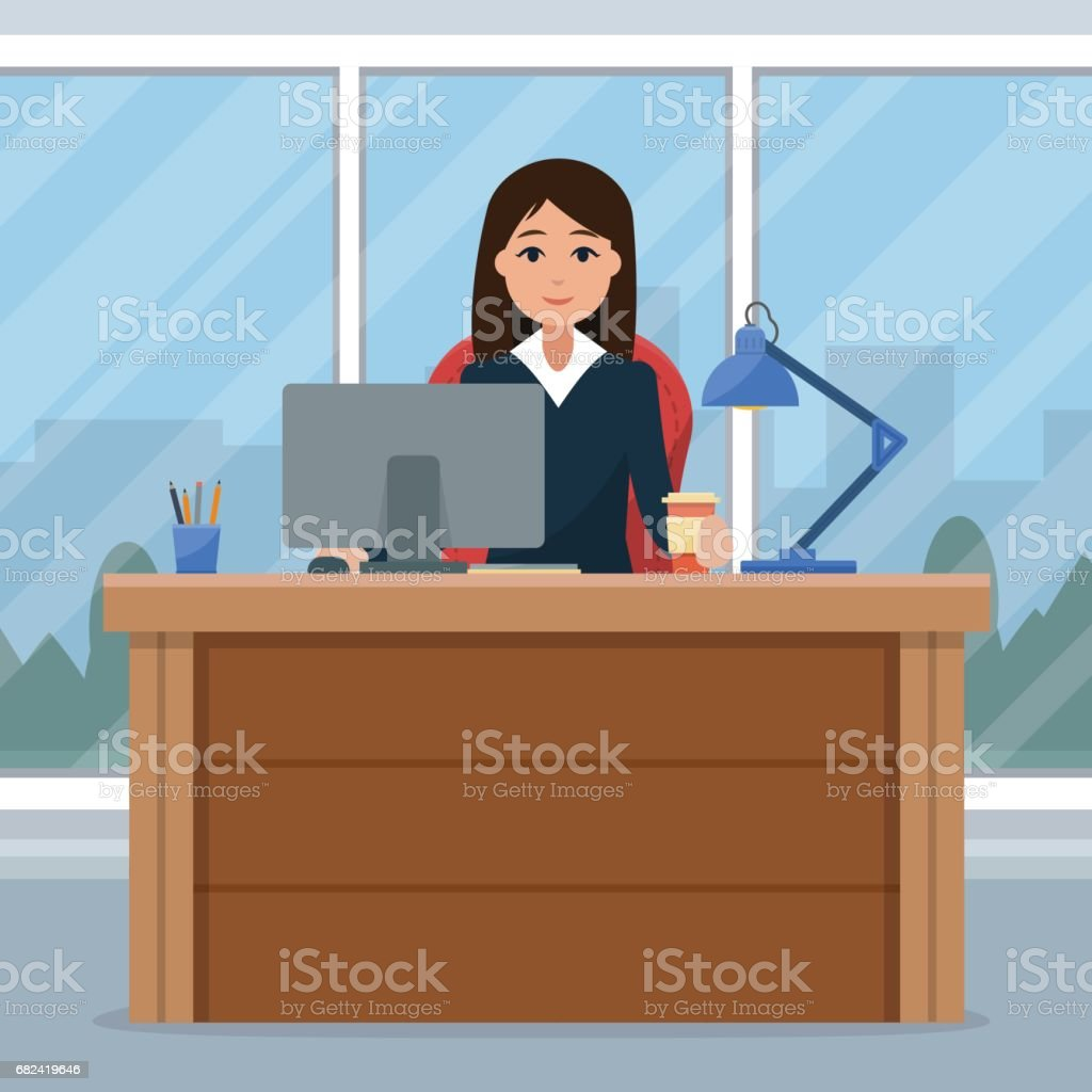 Business woman on the table in office. 免版稅 business woman on the table in office 向量插圖及更多 人 圖片