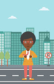 An african-american business woman opening her jacket like superhero on the background of modern city. Business woman superhero. Vector flat design illustration. Vertical layout.