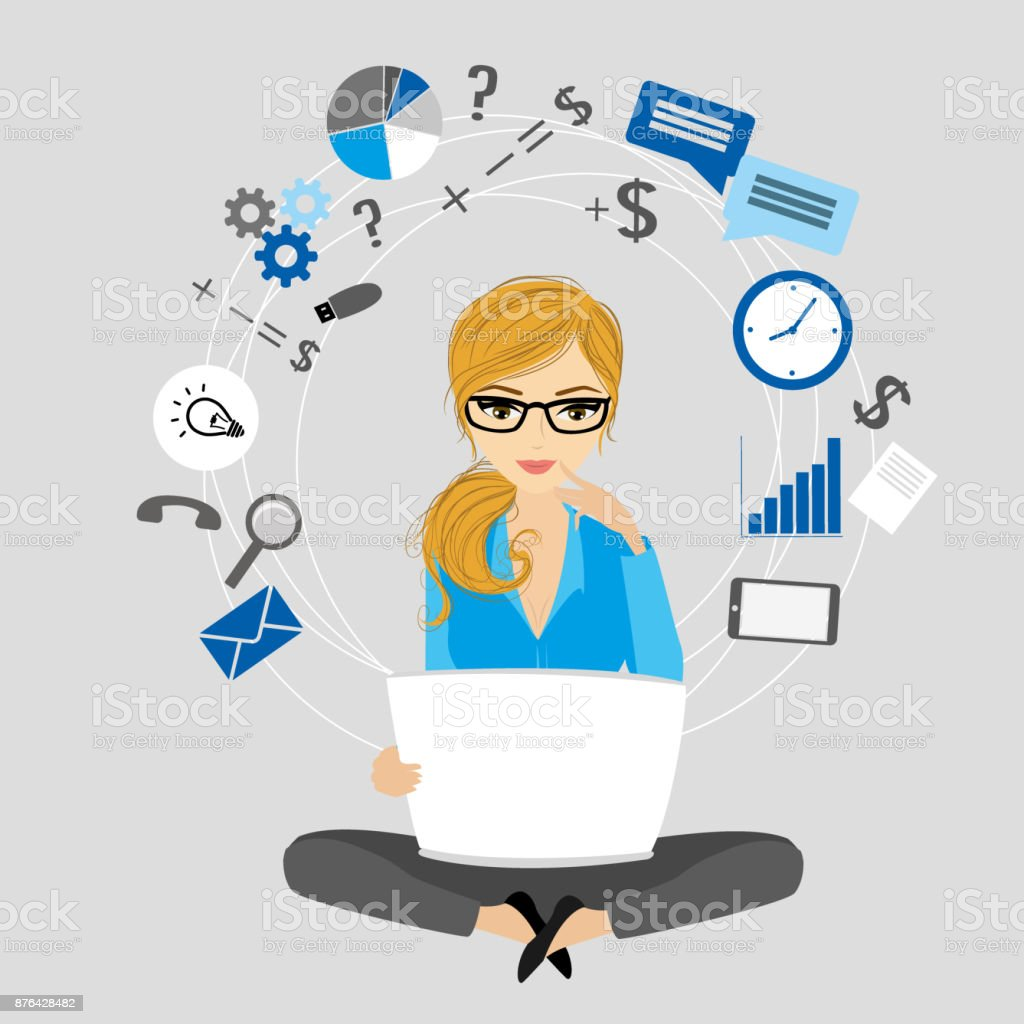 Business woman or office worker in lotus invents ideas vector art illustration