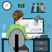 Business woman or office worker sitting on a chair at the desk in the office, back view, flat design, cartoon vector illustration