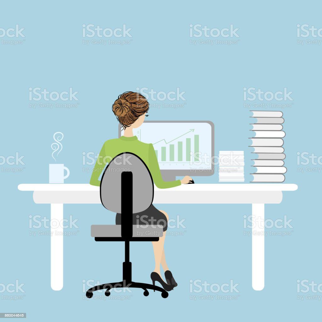 Business Woman or office worker  working on computer vector art illustration