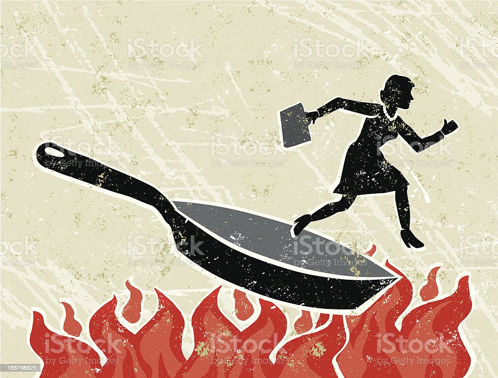 Business Woman Out of a Frying Pan into The Fire royalty-free stock vector art