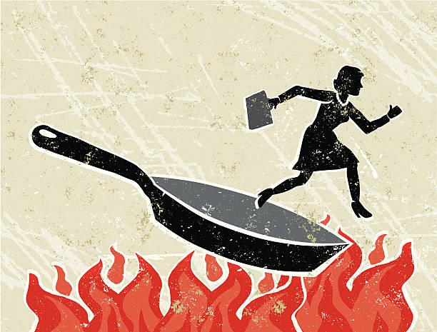 ilustrações de stock, clip art, desenhos animados e ícones de mulher de negócios em uma frigideira no fogo - fail cooking
