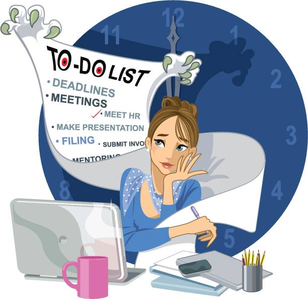 Business woman overwhelmed by her list of jobs - illustrazione arte vettoriale