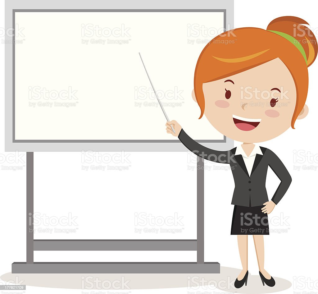 Business woman Pointing at Presentation Board royalty-free stock vector art