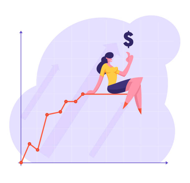 Business Woman Pointing Finger Up to Dollar Sign Sitting on Top of Growing Chart Broken Line. Growth Data Analysis Arrow Graph, Financial Profit Statistic Diagram. Cartoon Flat Vector Illustration Business Woman Pointing Finger Up to Dollar Sign Sitting on Top of Growing Chart Broken Line. Growth Data Analysis Arrow Graph, Financial Profit Statistic Diagram. Cartoon Flat Vector Illustration human finger stock illustrations