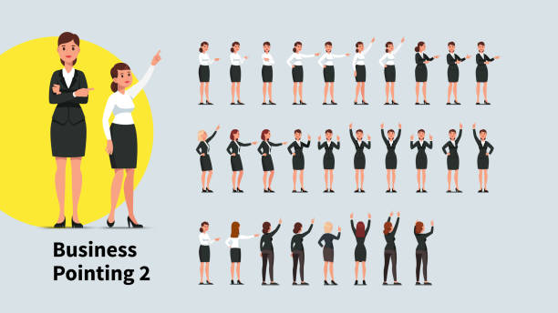 illustrazioni stock, clip art, cartoni animati e icone di tendenza di business woman pointing index finger in different directions set. front and back views of gesturing person. businesswoman standing, pointing aside, up with one and both hands. flat vector character illustration - ritratto in ufficio