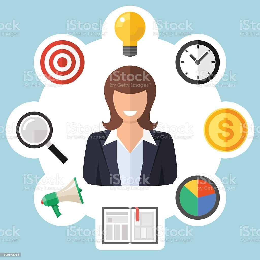 Business woman portrait. vector art illustration