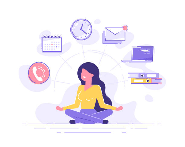 business frau praktiziert achtsamkeits-meditation mit büro-ikonen auf dem hintergrund. multitasking und zeitmanagement-konzept. vector illustration. - meditation icon stock-grafiken, -clipart, -cartoons und -symbole