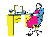 Vector illustration character of pregnant businesswoman or female office worker, smiling and happy working at workplace. Outline, linear, thin line art, doodle, hand drawn sketch.