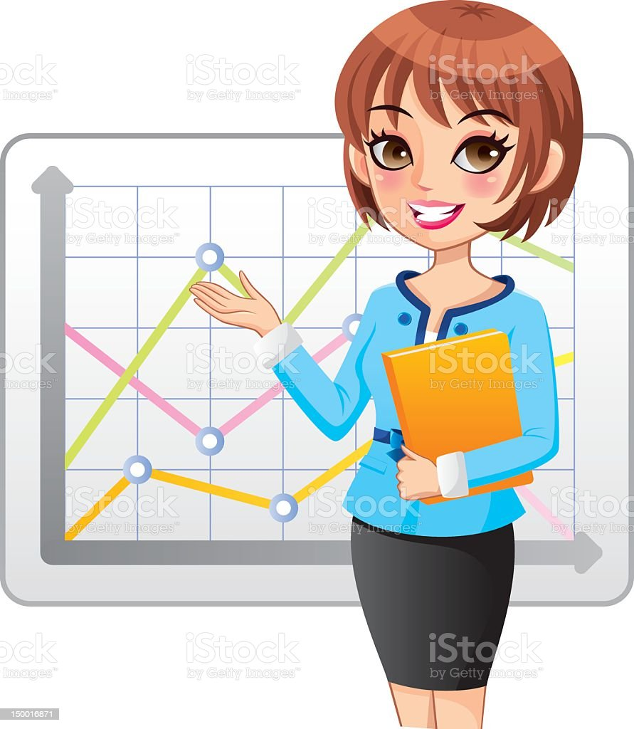 Business woman presentation with graph vector art illustration