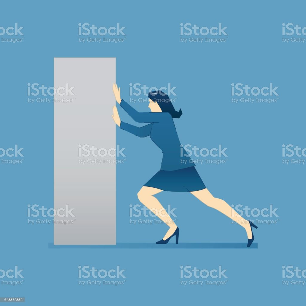 Business woman pushes heavy box vector art illustration