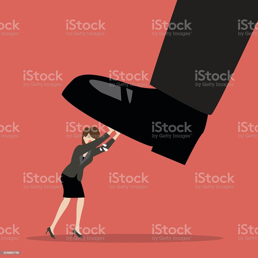 Business woman pushing big foot vector art illustration