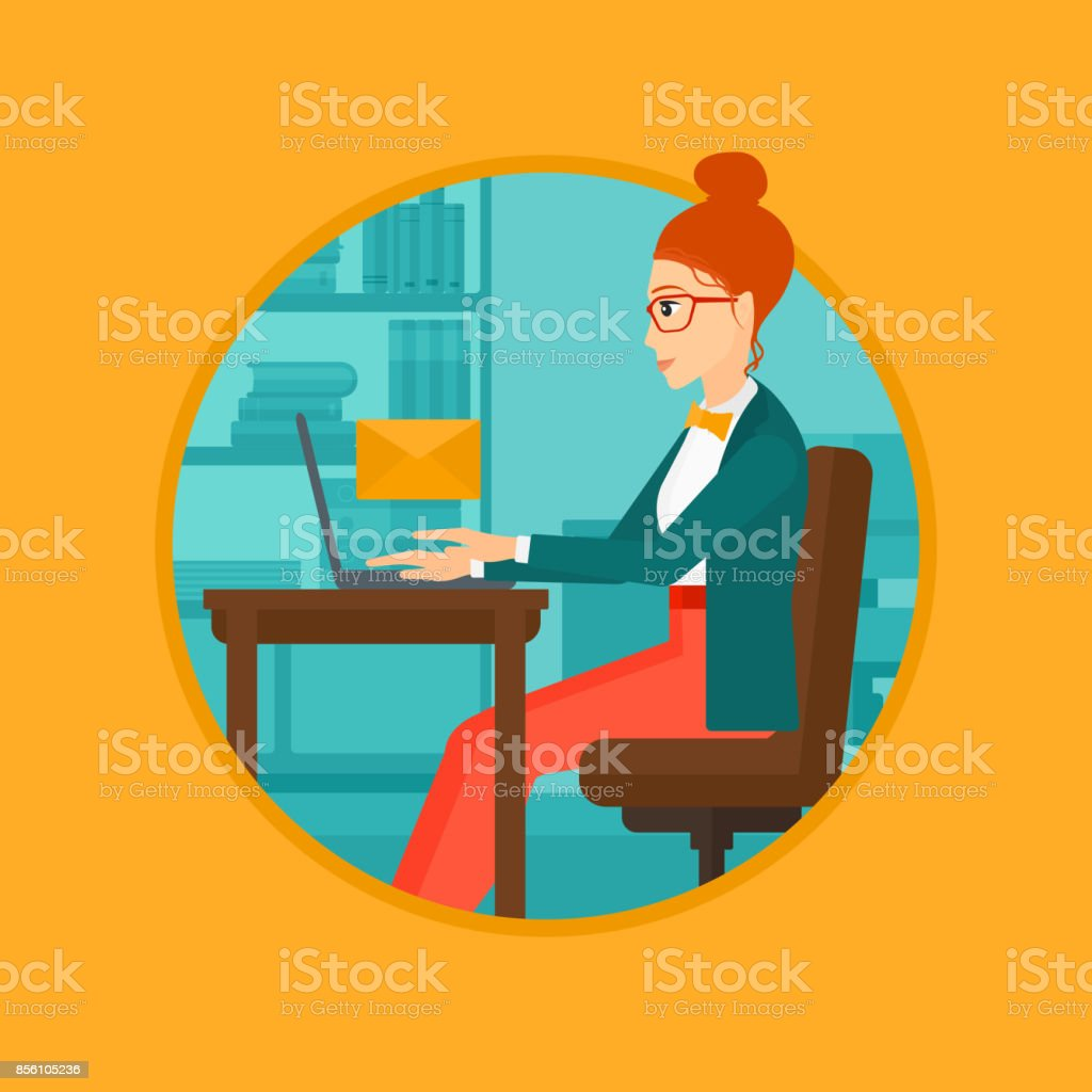 Business woman receiving or sending email vector art illustration