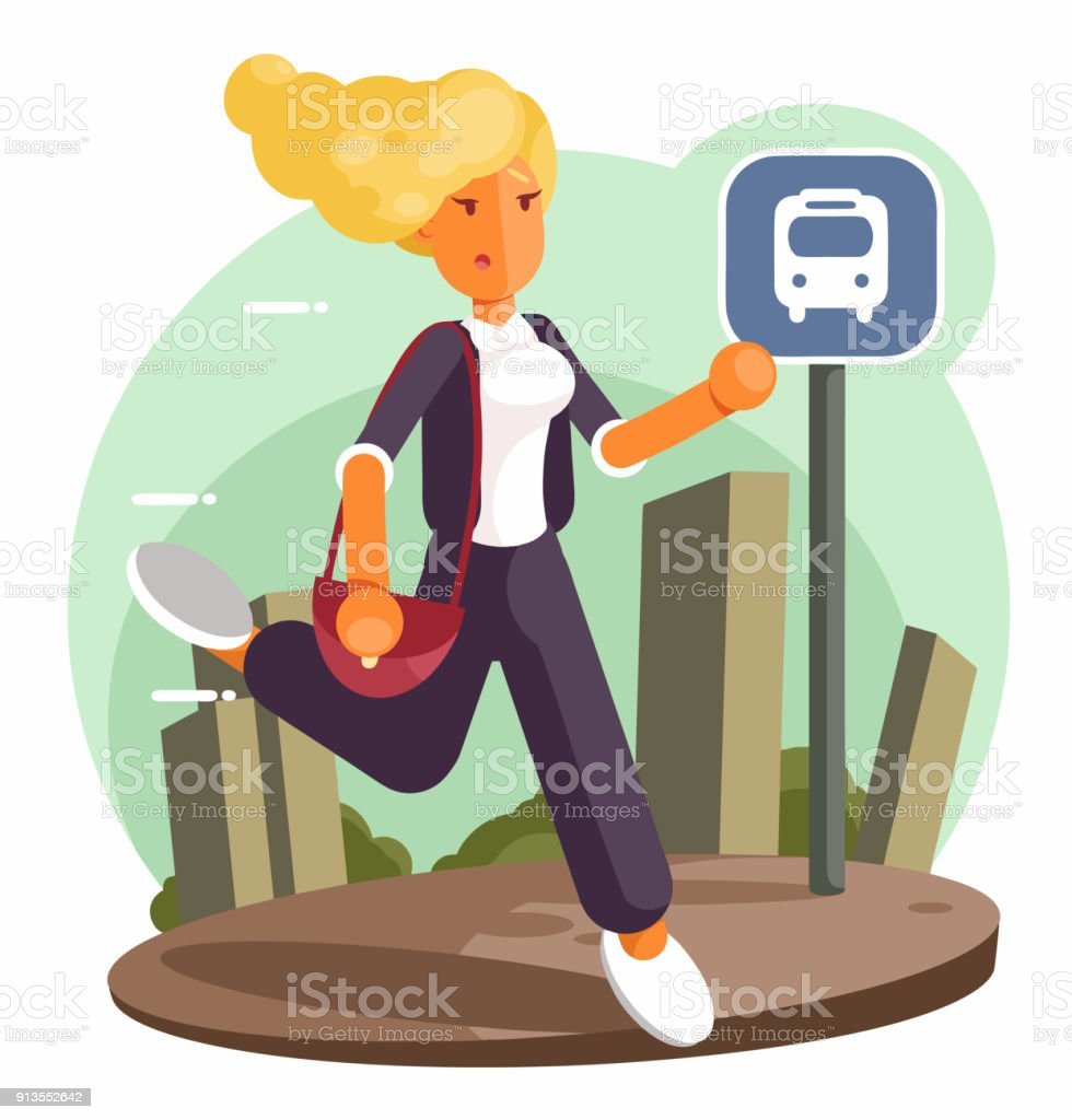 Business woman running and hurry up. Flat design style illustration vector art illustration