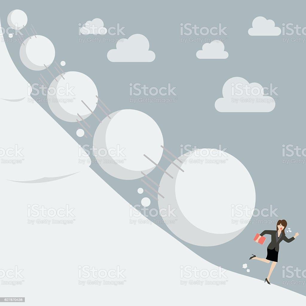Business woman running away from snowball effect - ilustração de arte em vetor
