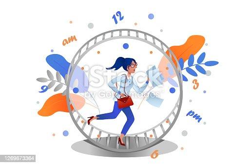 istock Business woman runs rat race in hamster wheel clock. Metaphor of time management. 1269673364
