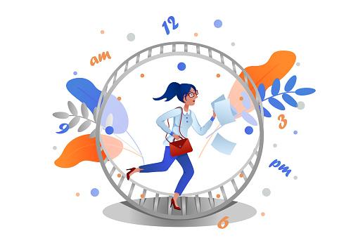Business woman runs rat race in hamster wheel clock. Metaphor of time management.