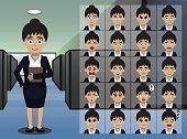 Business Woman Secretary Cartoon Emotion faces Vector Illustration