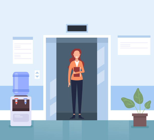 Business Frau Sekretärin Charakter wartet Aufzug in der Business-Center-Halle. Business Life Konzept. Vector flacher Cartoon-Grafikdesign-Illustration – Vektorgrafik