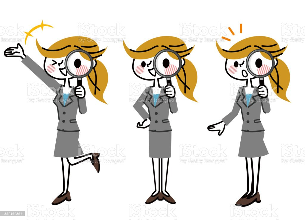 Business woman seen with a magnifying glass. vector art illustration