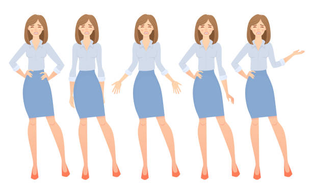 business woman set. set of female gestures and postures vector illustration. - ruth stock illustrations