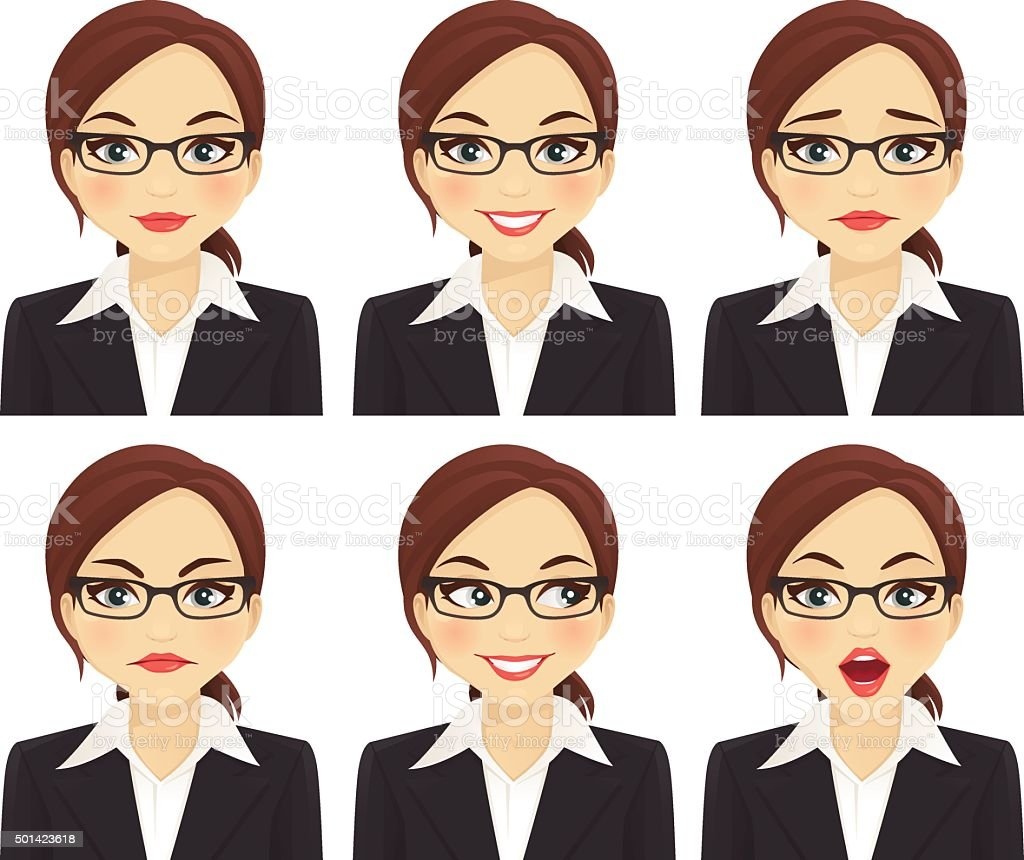 Business woman set vector art illustration