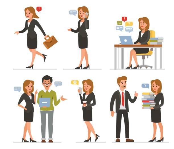 stockillustraties, clipart, cartoons en iconen met zakelijke vrouw set - business woman phone