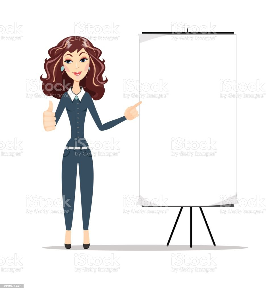 Business woman shows on banner vector art illustration