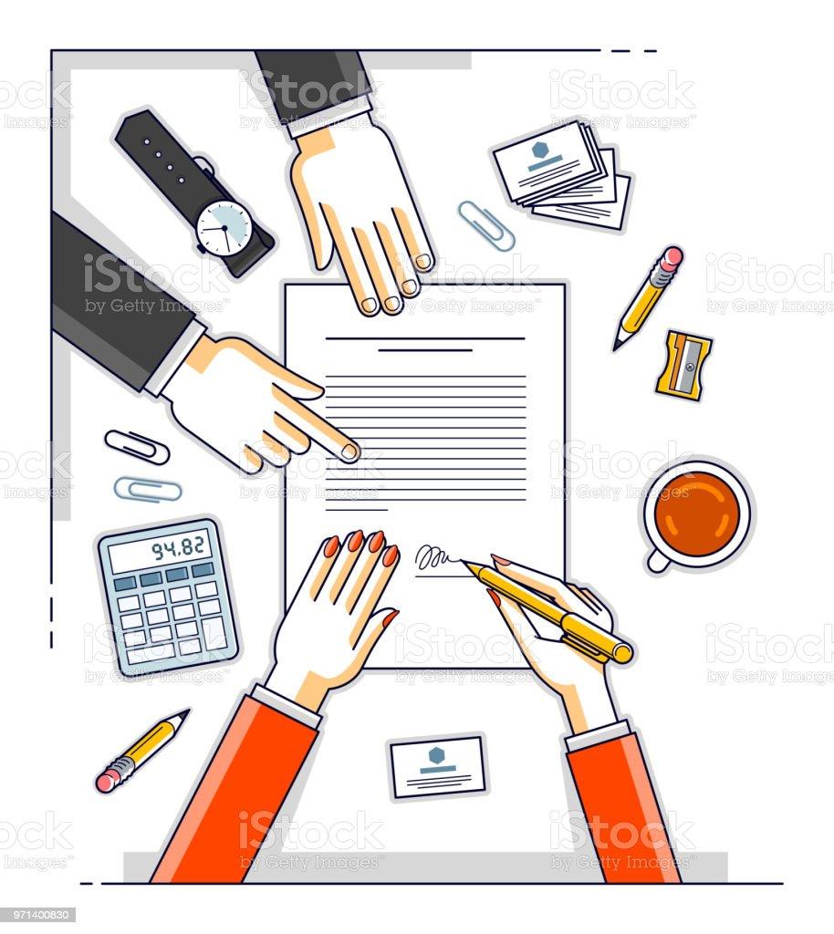 Business Frau Unterzeichnet Vertrag Papierdokument Oder Bankkunden ...