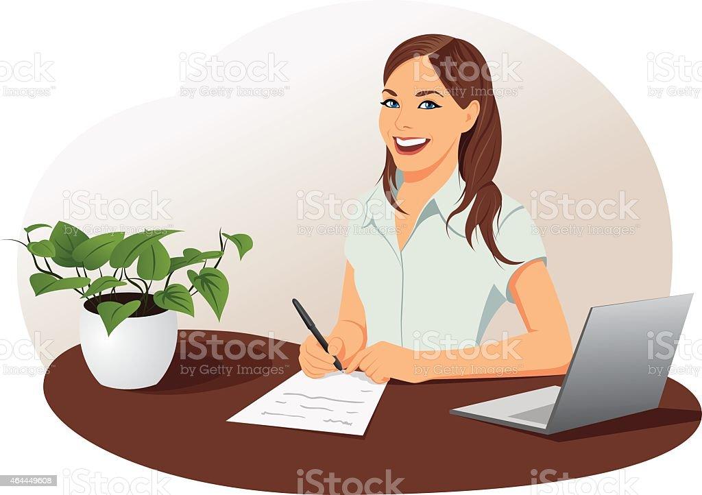 Femme d'affaires, signer le document - Illustration vectorielle