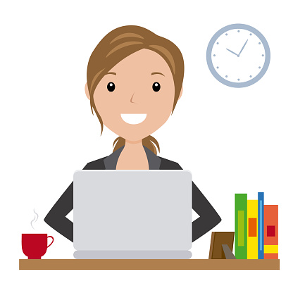 business woman sitting at his desk with a laptop