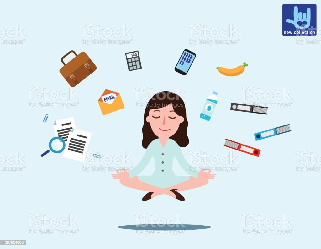 Business woman sitting in padmasana lotus pose with flying around documents, phone, flying around him Office worker multitasking & meditating, relaxing doing yoga. Vector flat illustration concept – Vektorgrafik