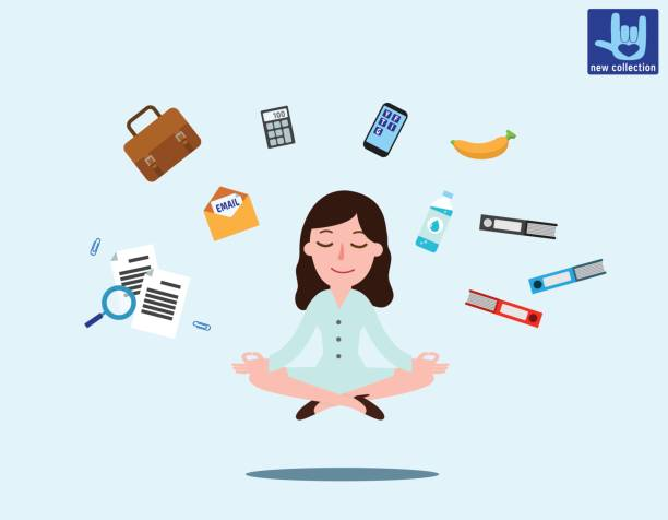 business woman sitting in padmasana lotus pose with flying around documents, phone, flying around him office worker multitasking & meditating, relaxing doing yoga. vector flat illustration concept - mindfulness stock illustrations