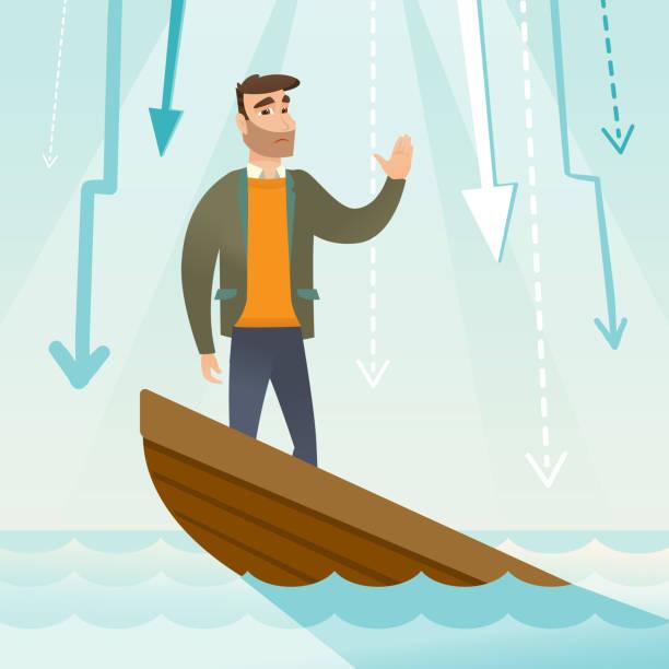 business-frau, stehend in sinken boot - gesunken stock-grafiken, -clipart, -cartoons und -symbole
