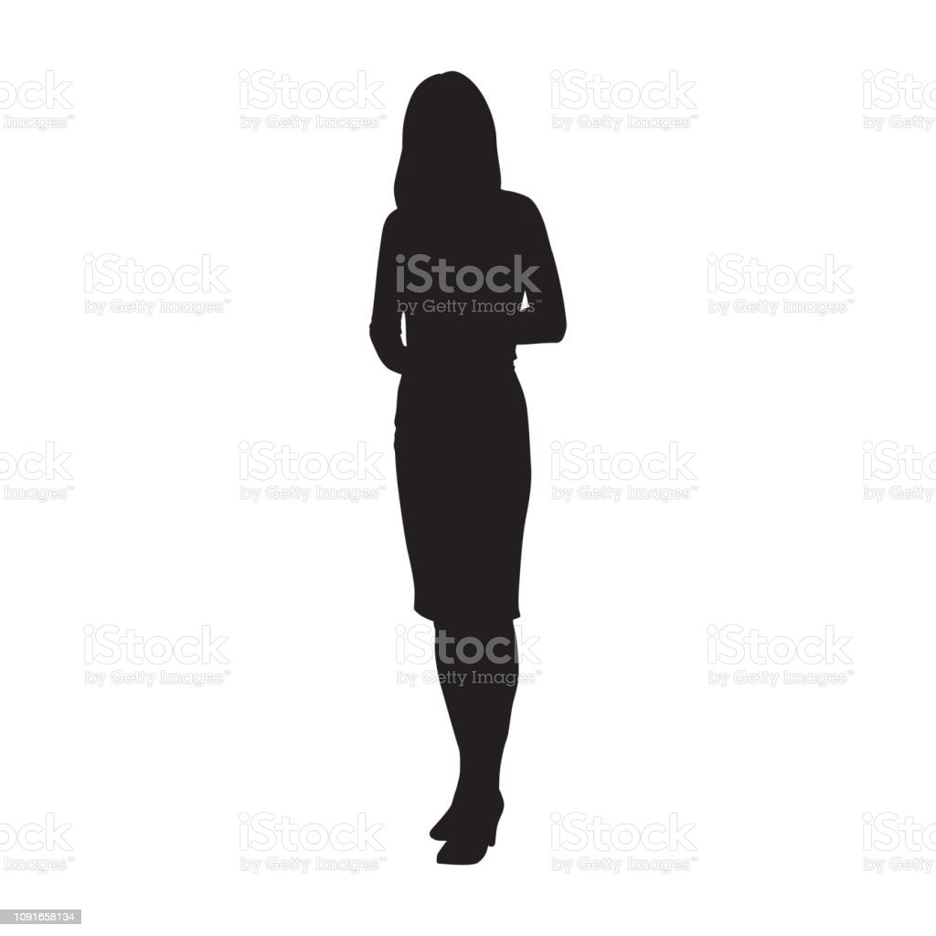Business woman standing, isolated vector silhouette - Royalty-free Adult stock vector