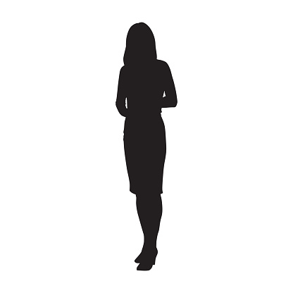 Business woman standing, isolated vector silhouette