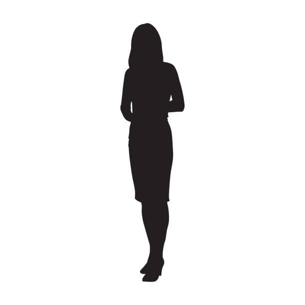 kobieta biznesu stojąca, odizolowana sylwetka wektora - neutralne tło stock illustrations