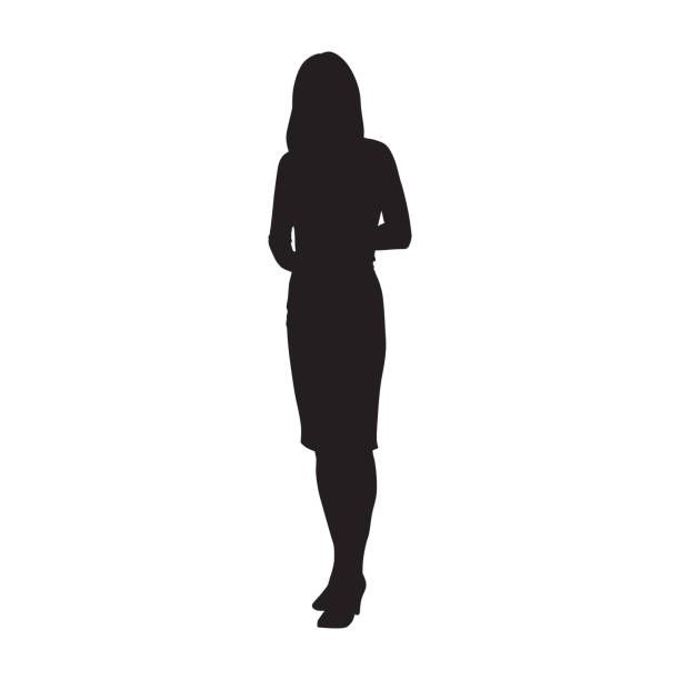 ilustrações de stock, clip art, desenhos animados e ícones de business woman standing, isolated vector silhouette - business woman