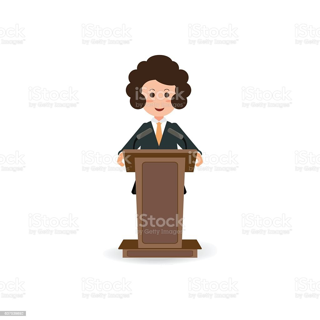 Business woman standing to speaking and presentation on podium. vector art illustration